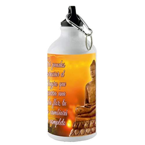 Kembilove Isolierte Wasserflasche – 500 ml Aluminium-Flaschen – High Definition Big Buddha, Chakren – Lebensmittelqualität Materialien BPA-frei – tragbar, inklusive Karabiner