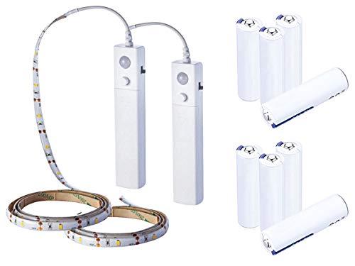 LEDLUX 2 6V 2.4W Kit de tira de luces LED con sensor de movimiento IP65 1 metro 30 SMD 2835 Para armario Armario Escaleras Pasillo Cocina ect - 8 pilas AAA incluidas (Blanco neutro 4000K)