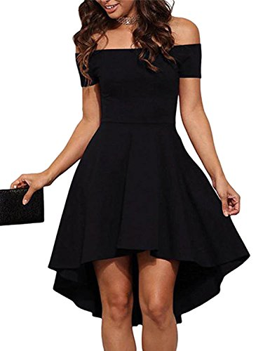 YOINS Sexy Kleid Damen Off Shoulder Schulterfreies Cocktailkleid Sommerkleid Damen A-Linie Elegant Jerseykleid Abendkleid Partykleid Schwarz EU40-42