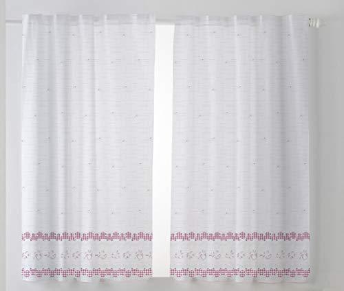 Cardenal Textil Tamara Cortina Cocina Visillo, Tela, Morado, Pack 2 100 x 140 cm