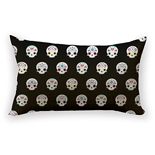 Reebos Funda de cojín de lino y algodón lumbar, diseño de calaveras de azúcar para sofá, hogar, rectangular, 30,5 x 50,8 cm