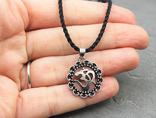 Om Zeichen Halskette Kette Yoga Makramee Band Schmuck Nylonband Schwarz Farbe Elefant Glücksbringer Glück Vegan Geschenkidee