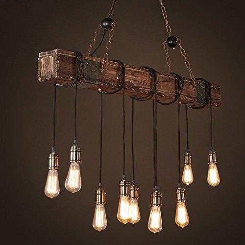 hanger kroonluchter houten hanger licht boerderij stijl donker onderdrukt houten balk grote lineaire eiland hanger licht 10-licht kroonluchter verlichting opknoping plafond armatuur