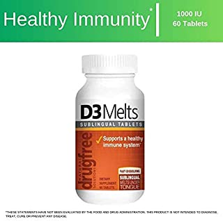 Dr Newtons Naturals Vitamin D3 Fast Melts Supplement for Immunity, Bone Density, and Energy - 60 Fast Dissolving Sublingual Gluten Free Tablets
