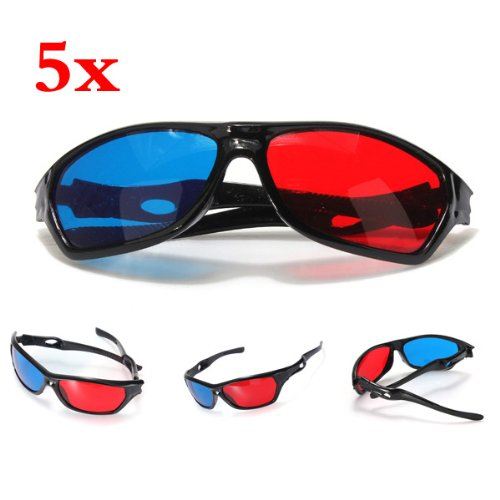 SODIAL(R) 5x rojo y azul anaglifo Dimensional 3D VISION Lentes Para TV Movie Game DVD