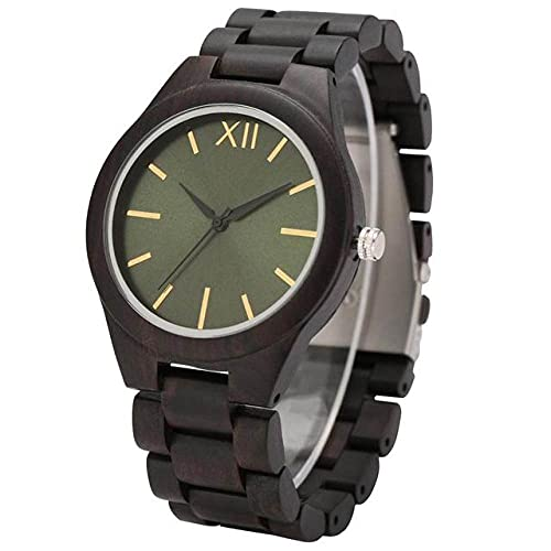 KUELXV Reloj de Pulsera de Madera Elegante Reloj de Madera de ébano para Hombre, Esfera Verde Simple, Correa Negra con Clavos Dorados, Reloj de Madera para Hombre, Duradero, Plegable, Reloj de rega