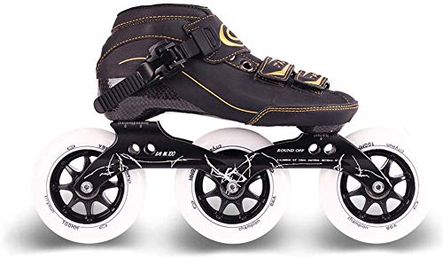 BENREN Inline Carbon Eisschnelllaufschuhe, Erwachsene Kind 3 * 90/100 / 110mm Rad, Inline Rollschuhe Geschwindigkeit,35
