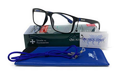 VENICE EYEWEAR OCCHIALI | Gafas de lectura, presbicia, vista cansada, Diseño en Colores: Amarillo, Azul y Rojo. VENICE Race - Dioptrías: 1 a 3,5 (Azul, 3,00)