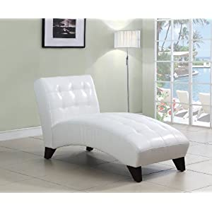 ACME Anna White Faux Leather Lounge Chaise 1