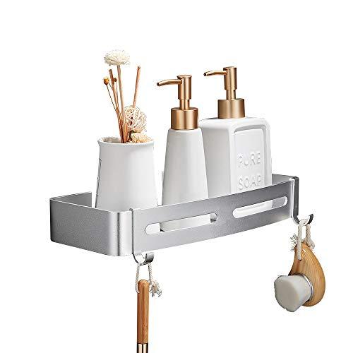 GERUIKE Estante de baño cuadrado, Cesta de ducha, Organizador de pared para cocina, Aluminio espacial, Instalación sin taladro, Sin daños, Adhesivo