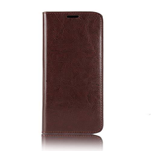 Sunrive Für Motorola Moto E5 Plus, Echt-Ledertasche Schutzhülle Hülle Standfunktion Flip Lederhülle Hülle Handyhülle Schalen Kreditkarte Handy Tasche(braun)