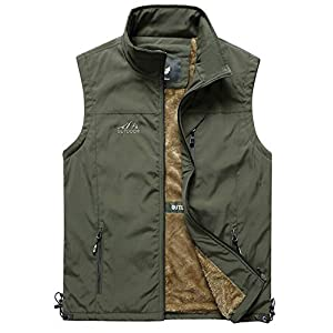 Men's Casual Outdoor Work Safari Fishing Travel Photo Fleece Vest Jacket