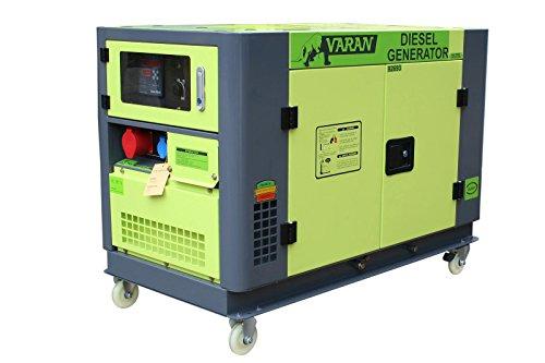 Varan Motors 92693 Elektrischer Dieselgenerator schallgedämpft Stromaggregat 10kVA 400V 230V 12V, wassergekühlt