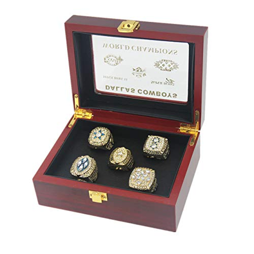 Dallas 5 time  Cowboys Super'bowl Rings Set size 11 with Box Gifts for Men Women Boys Kids Youth Championship Ring Gifts for Men Boys Kids Women Youth