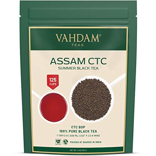 Assam CTC Tea, foglia di tè nero sfuso dall'India, 255 grammi (120+ tazze) FORTE, BASSA e RICCA, foglia sciolta del tè dell'Assam, tè indiano originale del latte quotidiano, dall'India