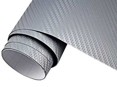 5€/m2 Auto Folie - 3D Carbon Folie silber blasenfrei 30 x 150 cm selbstklebend BLASENFREI Car Wrapping Klebefolie