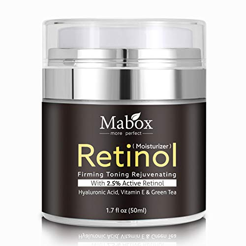 Mabox Retinol Moisturizer Cream for Face and Eye Area 1.7 Fl. Oz with Retinol, Hyaluronic Acid, Vitamin E and Green Tea for Anti Aging.Wrinkles Cream for Face ,Best Night and Day Moisturizing Cream