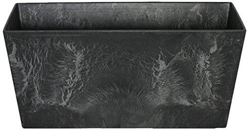 Artstone Pflanzgefäß Balkonkasten Ella, frostbeständig und leichtgewichtig, Schwarz, 37x17x17cm