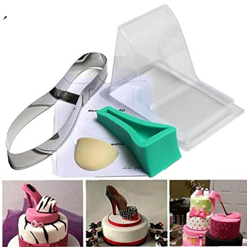 Angoter Large Size-Fondant-Kuchen 3D Silikon Stilleto High Heel-Form-Dame-Schuh-Form für Hochzeitstorte Dekoration für Bakeware