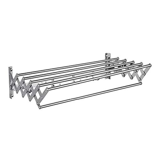 Space Saver Wall Mounted Laundry Clothes Drying Rack Indoor/Outdoor Adjustable Clothes Drying Rack, Retractable Dry Coat Hanger For Laundry Room,Bedroom,Bathroom ( Color : Silver , Size : 50x30cm )