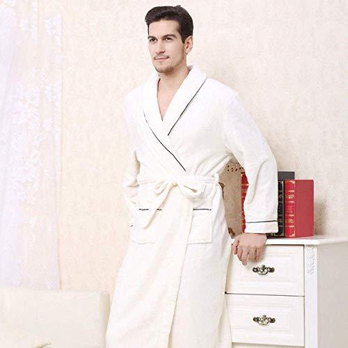 NBVCX Home Life Warme Kimono Robe Winter Bademantel Herren Superweiche Flanell Koralle Lange Bademäntel Herren Kimono Nachtwäsche Herren Morgenkleid Herren weiß XXXL