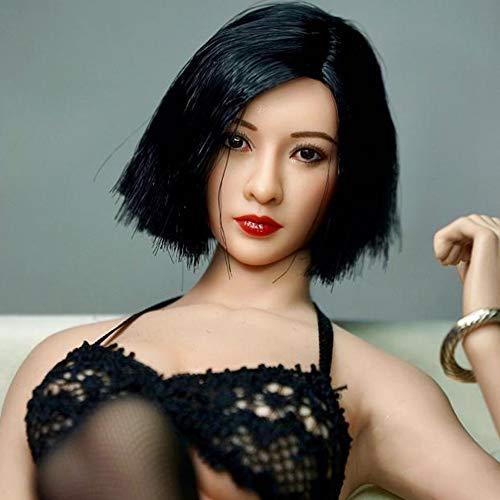 "HiPlay 1/6 Scale Female Figure Head Sculpt, Asian Beauty Series, Charming Girl Doll Head for 12"" Action Figure Phicen, TBLeague DH019 (C: Black Short Hair)"