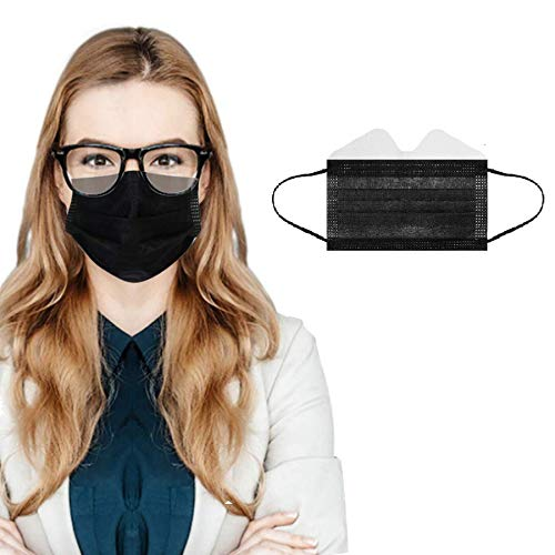50/100 Pcs 3-Ply Disposable Face Macks, Anti-Fog Face Shield for People Who Wear Glasses, Latest Technology (50, Black)