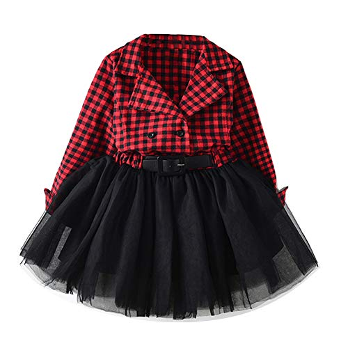 Infant Toddler Baby Girl Christmas Red Plaid Dress Long Sleeve Tulle Lace Tutu Princess Party Dress Winter Clothes (Black, 2-3 T)