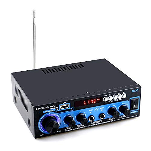 Docooler BT Digitale audio-versterker, AMP, USB-SD-sleuf, MP3-speler, FM-radio, LCD-display, dubbele microfooningang, met afstandsbediening, dubbele kanaal, 40 W + 40 W