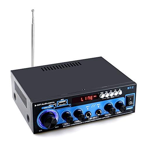 Docooler Mini-Audio-Leistungsverstärker BT Digitaler Audio-Receiver AMP USB SD-Steckplatz MP3-Player FM-Radio LCD-Display Doppelmikrofoneingang mit Fernbedienung Doppelkanal 40W + 40W