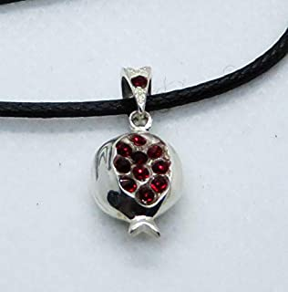 Armenian Pomegranate Sterling Silver Pendant with Zircon Red Gemstones