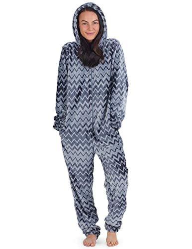 Onesie Damen Kuscheliger Jumpsuit Pyjama mit Geometrische Motive (M, dunkelgrau und grau)