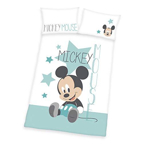 Herding Disneys Mickey Mouse Bettwäsche-Set, Wendemotiv, Kopfkissenbezug 40 x 60 cm, Bettbezug 100 x 135 cm, Mit Knopfleiste, Baumwolle/Linon