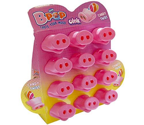WOM Oink, Chupetes de Caramelo con Forma de Nariz de Cerdo,