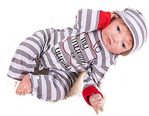 Hongge Weißhe Silikon Reborn Baby Doll, Baby Realistische Puppe Reborn Vinyl Reborn Puppe Baby Geburtstagsgeschenk 48 cm