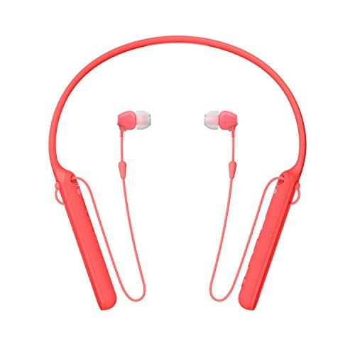 Sony WIC400 - Auriculares Neckband Inalámbricos (Cable Retráctil, Bluetooth, Vibración Llamadas, NFC, 20 Horas de Autonomía) Rojo, M
