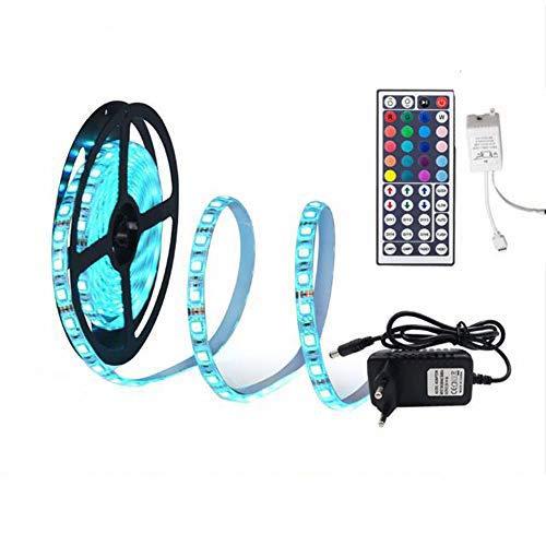 Tira de luces LED RGB 5 m SMD 5050, impermeable, flexible, con fuente de alimentación y mando a distancia, 44 teclas incluidas, 300 LED de 5 metros