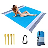 Siteer Beach Blanket 78.7' x 82.7' for 4-7 Adults,Waterproof,Sand Free, Quick Drying, Lightweight and Durable, with Storage Bag, Carabiner, Stakes