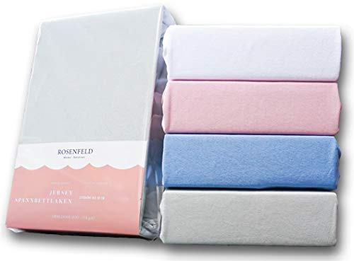 Rosenfeld Spannbettlaken Jersey - 100% extra Dicke und weiche Baumwolle, Spannbettlaken 180x200cm - Bettlaken für Steghöhe bis 30 cm, grau