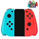 powcan switch controller, manette pour nintendo switch, switch pro sans fil contrôleur bluetooth gamepad (blue & red) (bleu rouge)