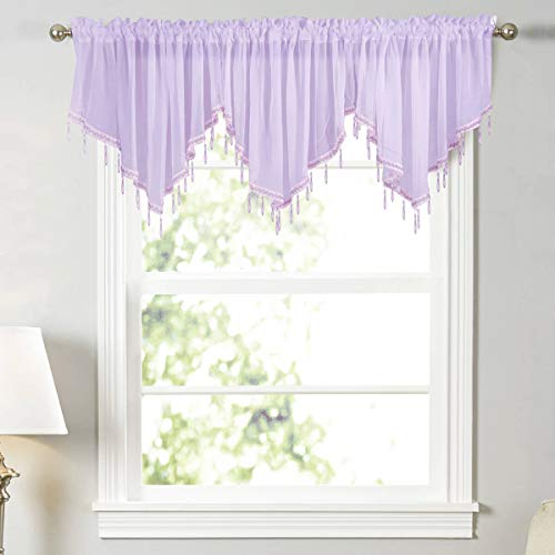 WUBODTI Purple Sheer Beaded Valances 3 Pieces Kitchen Cafe Girl Room Rod Pocket Swag Window Valance Curtain with Bead Trim for Bedroom Bathroom Nursery Living Room, 51 x 24 Inch Length
