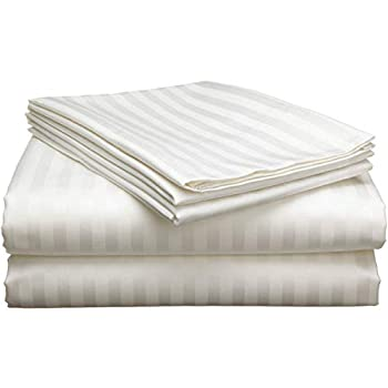 400-Thread-Count Queen Cotton-Sheets Set Ivory Stripe 100% Cotton Sheet Queen Size Sheets Set Soft Sateen Cotton Queen -Sheet Set Deep Pocket fit Mattress Upto 16 inch Sheets for Bed Ivory Stripe