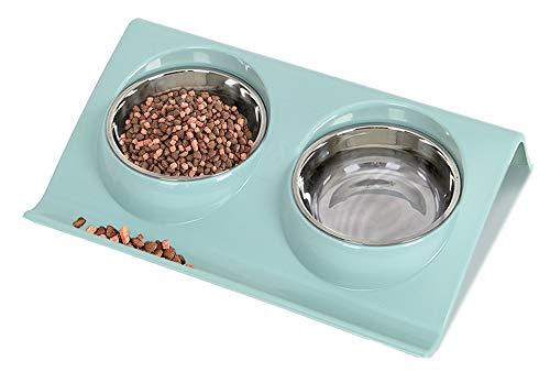 Speyang Fressnapf Katze Hund Klein, Doppelter Futternapf Edelstahl, Orthopädischer Katzenschuissel Hundenapf Schrag, für Katze Welpe Futter und Wass (Blau)