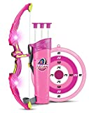 Light Up Princess Archery Bow And Arrow Toy Set for Girls With 3 Suction Cup Arrows, Target, and Quiver (Pink)