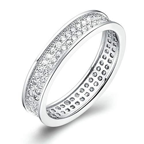 KnSam Bandring Herren Silber Ring Für Männer Kupfer Versilber 2 Zeilen Silber Ring Valentinstag Gedenkenstag Geschenk