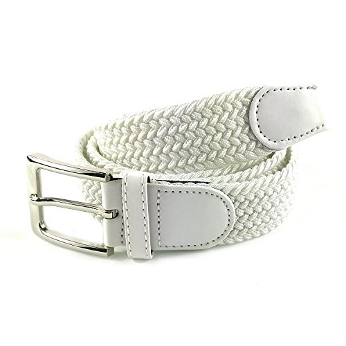 MYB Cinturón elástico trenzado para hombres y mujeres - múltiples colores y tamaños (115 - 120 cm, Blanco)
