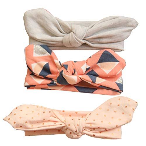 COUXILY 3 Stück Baby Mädchen Stirnband 100% Baumwolle Haarband mit Bogen für 0-24 Monaten (B04)