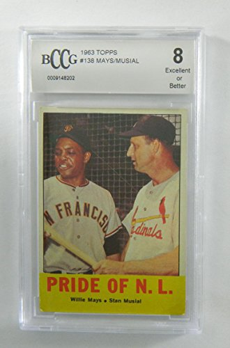 1963 topps #138 WILLIE MAYS/STAN MUSIAL PRIDE OF N.L. BGS BCCG 8 Graded Card