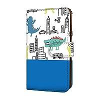 anve Android One S6 国内生産 ミラー スマホケース 手帳型 KYOCERA 京セラ アンドロイド ワン エスシックス 【D.ブルー】 らくがき風 怪獣 恐竜 best_vc-868_sp