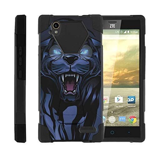 TurtleArmor | Compatible with ZTE Warp Elite Case | N9518 [Dynamic Shell] Hybrid Two Layer Case Impact Absorber Shock Silicone Cover Hard Kickstand Animal - Fierce Panther